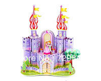 Free Shipping Chiristmas Gifts diy kit kids 3d paper puzzle intelligent toy ( Purple Castle )