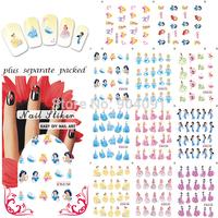 HOT 50sheet/LOT Beautiful Princess Cartoon Nail Art sticker Design nail accessories/Nail water transfer+individually packaging