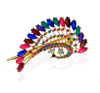 Free shipping+Romantic word crystal hair clip peacock national side clamping hair accessories hairpin headdress