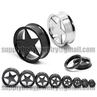 Double flared Flesh black Steel Screw Lone Star Ear Plugs Tunnels internal threaded 5mm to 30mm