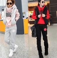 2014 Women fashion hoodies sweater suit sweatshirt set thickening leisure sports Hoodie (hoody,panty,vest)M-XL,Free shipping