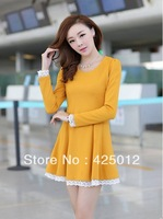 With Necklace! Autumn Women's Lace Decoration Elegant Basic Long-sleeve One-piece Dress