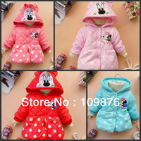 Retail in stock  children's clothing cotton-padded jacket girl's minnie mouse coat dot circle outerwear WX702