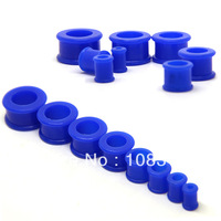 Blue Color flesh tunnel silicone double flare ear gauge plug stretched stretching choose your size
