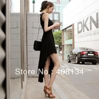 1pcs dropshiping a Irregular Sleeveless chiffon Dress of 2 colors woman fashion Swallowtail Skirt