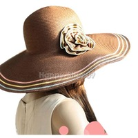 BU Fashion Women Colored Striped Wide Brim Floppy Fold Beach Sun Hat Many Colors