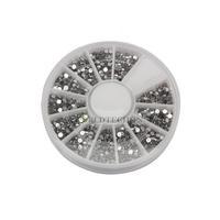 W7Tn 2000pcs 1.5mm Nair Decoration Clear Transparent Round Glitter Nail Art Rhinestones Wheel