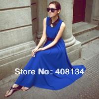 1pcs dropshiping TP1025 a v-neck sleeveless long chiffon dress with belt of 6 colors Fashion lady dress 2049