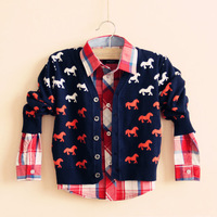 Children's clothing male female child 2013 autumn onta 100% cotton cardigan sweater child sweater