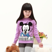 Child 100% cotton sweater child basic shirt male female child sweater spring and autumn o-neck pullover sweater