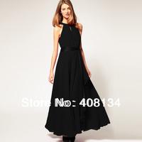 1pcs dropshiping sleeveless long chiffon dress with belt of 6 colors,high quality elegent woman party dress long dress