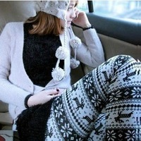 Autumn and winter warm pants christmas deer legging faux knitted cotton ankle length trousers black and white