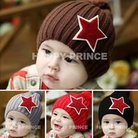 Child baby yarn autumn and winter hat fashion classic large the five-star embroidered logo pocket hat