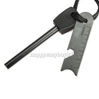 Survival Magnesium Flint Tooth Scraper Stone Fire Starter Lighter Kit H1E1