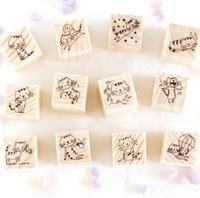 Blue Bai Stationery--Hot sale New style Lovely Wooden Cat Stamp Decoration Stamp 12pcs set for DIY 12 sets/lot  141