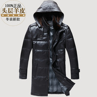 Mens Black Leather Jacket Genuine Leather Clothing Medium Long Leather Down cCat Mink Hair Hooded Outerwear Winter Coat Men XXXL