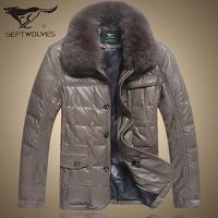 Men's Fur Jacket Brand Down Coat Male Detachable Fox Fur Genuine Sheepskin Leather Down Coat Men's Coat Winter Plus Size XXXL