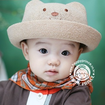 NEW 2013 Free Shipping Bear hat child strawhat baby sun hat sunbonnet baby summer bucket hats bonnet