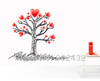 New 2013 Love Vinyl Home Decor Wall Stickers Heart and Tree Wall Decals DIY Room Backdrop Decoration Mural