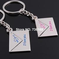 Free shipping (3 pairs/lot) sobre el llavero creative keychain couple bijoux zinc alloy fashion envelope keyring for lover
