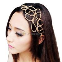 W7Tn Alloy Metallic Gold Braid Braided Hollow Elastic Stretch Hair Band Headband