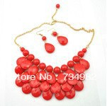 2013 Newest 51cm chain length J-CREW marking exaggerated necklace, Scarlet beaded  resin bubble necklace.X104