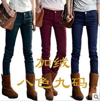 Multicolour plus velvet jeans plus velvet thickening skinny pants pencil pants