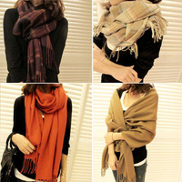 Autumn and winter women's yarn scarf muffler cape dual-use ultra long plaid scarf
