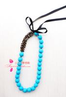 Fashion fresh pastels, marni hemp bag beads copper rhinestone lacing necklace