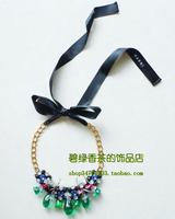 Marni fashion necklace ribbon green grey
