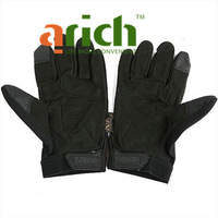 Wear-resistant Full Finger Synthetic Leather& Spandex Gloves with Nonslip Section L for Cycling Sport Racing - Black