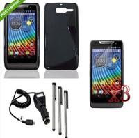 WP6 Black TPU Case Cover+Charger+LCD+Pen For Motorola RAZR D3 XT919 XT920