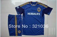 High Quality 2013 2014  Season   Los Angeles Galaxy Away Blue  Soccer Jersey With SHORTS  Soccer Uniforms Kits