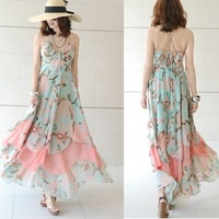 Promotions! Free shipping 2013 new women's Chiffon Dress Dress word skirt beach dress large size women 7125