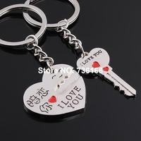 Free shipping (3 pairs/lot) llavero de novia fancy heart and key keyring fashion zinc alloy sweetheart keyring for lovers