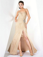 Sexy New Couture Design Sweetheart Beads Cut Out Pleated Summer Beach Mother Evening Dress Champagne
