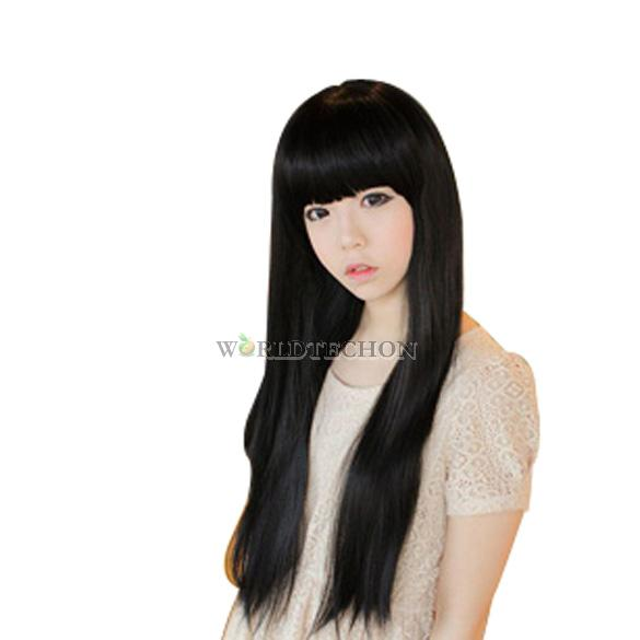 W7T New Fashion Girl Lady Long Straight Clip On Hair Extension Black Color Fibre(China (Mainland))