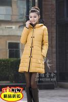 2013 winter outerwear wadded jacket female with a hood slim Women down cotton-padded jacket medium-long cotton-padded jacket