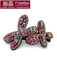 Popular four leaf clover clip Small rhinestone hair accessory spring clip folder hair accessory hair clip maker
