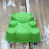 Free Shipping- Bear shape top platinum silicone Baking Mold for Cupcake cookie Jelly Chocolate mold-Green