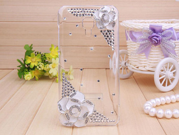 Shiny 3D Flower Diamond case Bling Crystal Camellias Cover for Samsung Galaxy S4 i9500 Dropshipping Free shipping