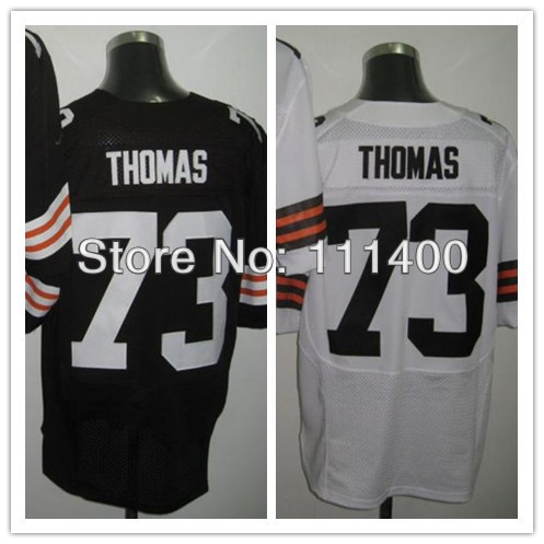 Free Shipping Mens Elite # 73 Joe Thomas Brown White Embroidery logos Cheap Football Jerseys Size:40-56 can mix order(China (Mainland))