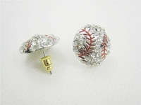 free shipping Wholesale  usa baseball white crystal red stitching earrings stud