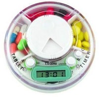 12pcs/lot storage case for medicine box Electronic timer kit health kit reminder circle  pill timer dispenser
