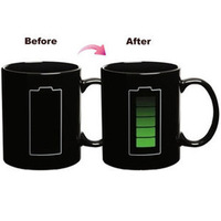 Magic Kikkerland Battery Coffee Mug Temperature Sensitive Reactive Cup Gift