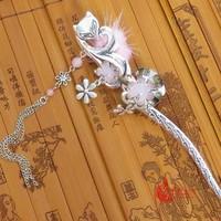 Classical hair stick tibetan silver fox hair stick mink powder jade hair stick vintage royal earrings