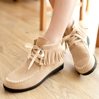 Spring and autumn sweet boots casual tassel female boots martin boots strap boots 40