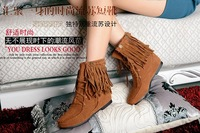 New arrival 2013 solid color lacing elevator tassel boots fashion low-heeled fashion round toe nubuck leather boots