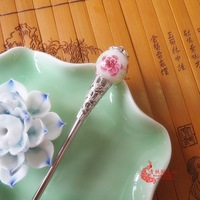 Japanese style copper colored glaze flower hair stick handmade vintage hairpin earrings