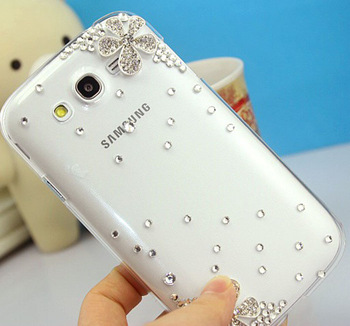 Transparent five petal flower diamond bling case for Samsung Galaxy S3 i9300 cover